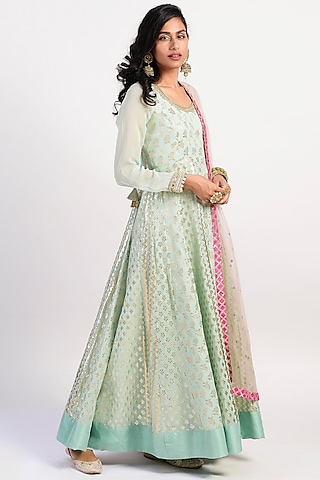 Mint Green Embroidered & Flared Anarkali Set by Rishi & Vibhuti