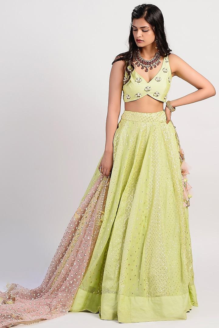 Lime Green Embroidered & Flared Lehenga Set by Rishi & Vibhuti