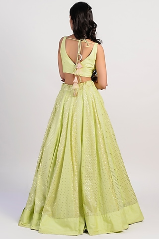 Lime Green Embroidered & Flared Lehenga Set by Rishi & Vibhuti