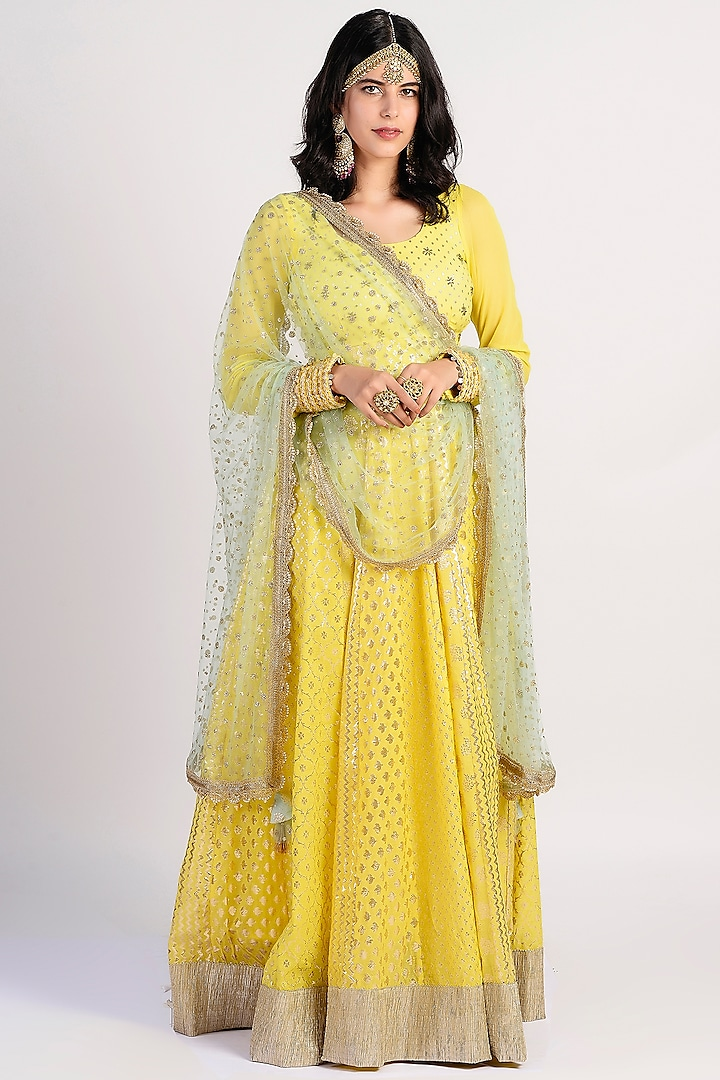 Yellow Embroidered Anarkali Set by Rishi & Vibhuti