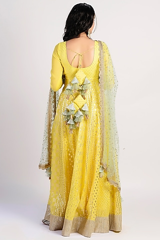 Yellow Embroidered Anarkali Set by Rishi & Vibhuti