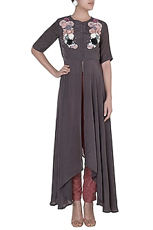 Mouse Grey Embroidered High-Low Tunic With Pants by Rishi & Vibhuti