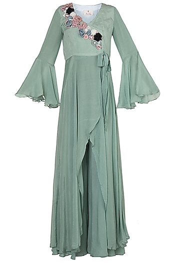 Ocean Blue Embroidered Wrap Tunic With Palazzo Pants by Rishi & Vibhuti