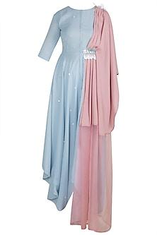 Baby Blue Embroidered Draped Shirt Dress by Rishi & Vibhuti