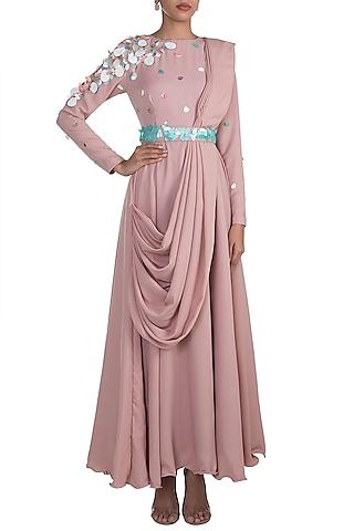 Blush Pink Embroidered Maxi Dress With Attached Palla by Rishi & Vibhuti