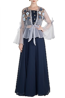 Midnight Blue Embroidered Crop Top With Skirt & Grey Jacket by Rishi & Vibhuti