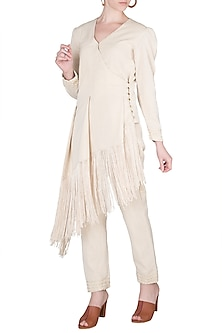 Ivory Fringe Jacket With Embellished Pants by A-Sha By Rishi & Vibhuti