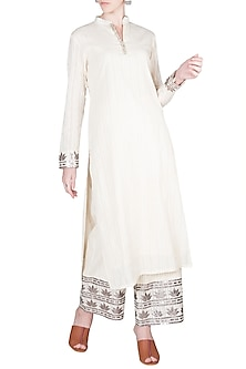 Ivory Leather Detailed Kurta With Pants by A-Sha By Rishi & Vibhuti