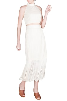 Ivory Halter Crop Top With Fringe Pencil Skirt by A-Sha By Rishi & Vibhuti