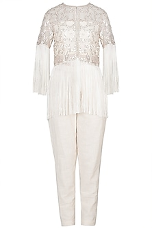 Ivory Embroidered Short Jacket With Bustier & Pants by A-Sha By Rishi & Vibhuti