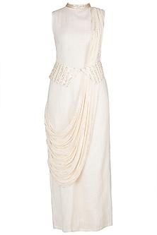 Ivory Embellished Straight Kurta by A-Sha By Rishi & Vibhuti