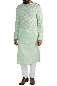 Fern Mint Cotton Kurta by Rishi & Vibhuti Men