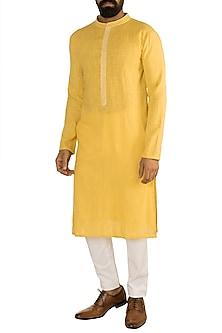 Yellow Linen Cotton Kurta by Rishi & Vibhuti Men