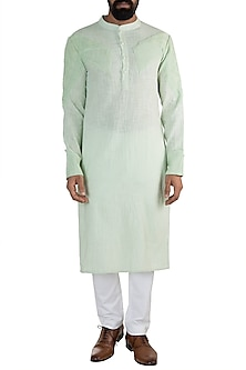 Mint Green Linen Cotton Kurta by Rishi & Vibhuti Men