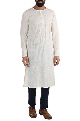 White Linen Cotton Kurta by Rishi & Vibhuti Men