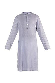 Ice Blue Linen Cotton Kurta by Rishi & Vibhuti Men