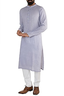 Ice Blue Linen Cotton Kurta by Rishi & Vibhuti Men