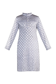 Sky Blue Linen Cotton Kurta by Rishi & Vibhuti Men
