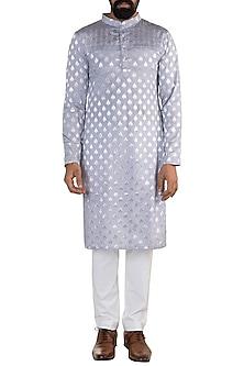 Sky Blue Linen Cotton Kurta by Rishi & Vibhuti Men