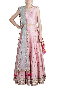 Blush Pink & Ocean Green Embroidered Lehenga Set by Rishi & Vibhuti