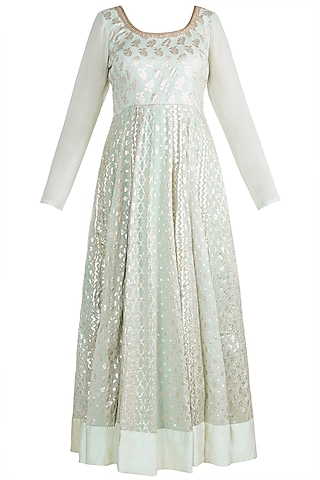 Mint Green & Blush Pink Chanderi Anarkali Set by Rishi & Vibhuti