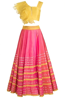 Mustard Ruffle Top With Fuchsia Lehenga Skirt by Rishi & Vibhuti