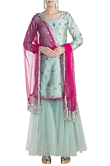 Turquoise & Hot Pink Studded Gharara Set by Rishi & Vibhuti