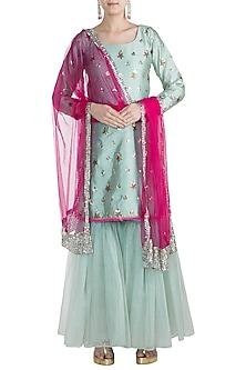 Turquoise & Hot Pink Studded Gharara Set by Rishi & Vibhuti