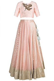 Peach & Ocean Blue Panelled Lehenga Set by Rishi & Vibhuti