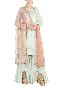Mint Green & Blush Pink Kurta Set by Rishi & Vibhuti