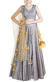 Grey & Yellow Chanderi Lehenga Set by Rishi & Vibhuti