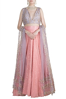 Blush Pink & Lavender Shimmery Lehenga Set by Rishi & Vibhuti