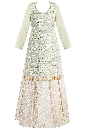 Sage Green & Ivory Embroidered Kurta Set by Rishi & Vibhuti