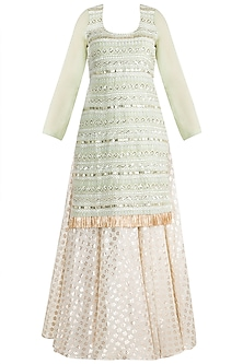 Sage Green & Ivory Embroidered Kurta Set by Rishi & Vibhuti