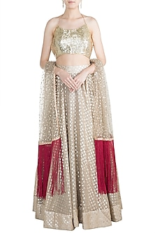Golden Chanderi Lehenga Set by Rishi & Vibhuti