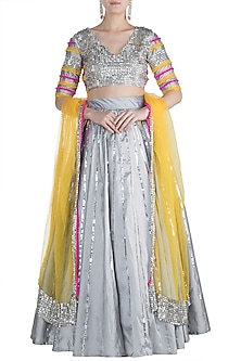 Grey & Silver Embroidered Lehenga Set by Rishi & Vibhuti