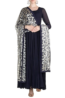 Midnight Blue Anarkali With Embellished Dupatta by Rishi & Vibhuti