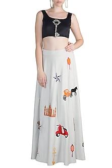 Grey Applique Motif Skirt by Rishi & Vibhuti
