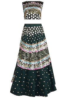 Bottle Green Embroidered Crop Top With Skirt by Rishi & Vibhuti