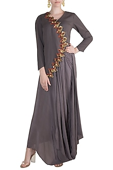 Grey Embroidered Jacket Kurta With Draped Skirt & Leggings by Rishi & Vibhuti