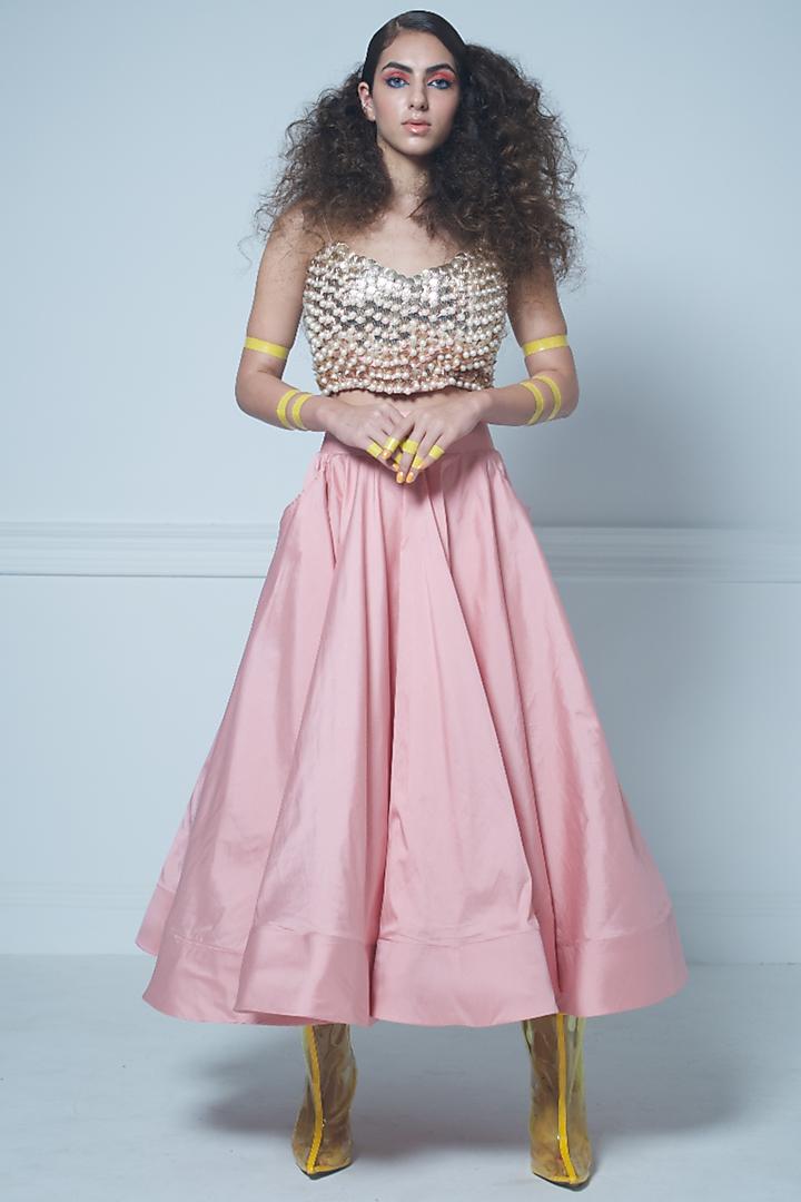 Pink Taffeta Skirt Set by Rishi & Vibhuti