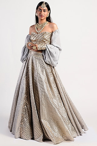 Silver Embroidered Lehenga Set by Rishi & Vibhuti