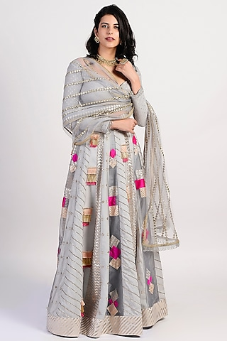 Grey Chanderi Lehenga Set by Rishi & Vibhuti