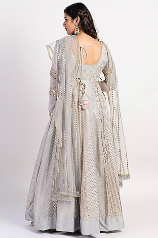 Grey Embroidered Anarkali With Dupatta by Rishi & Vibhuti
