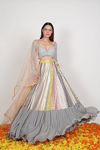 Multi Colored Lehenga Set by Rishi & Vibhuti