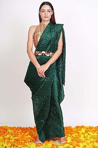 Bottle Green Draped Saree Set by Rishi & Vibhuti