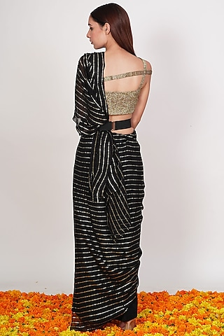 Black & Gold Pre-Draped Saree Set by Rishi & Vibhuti