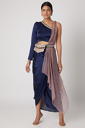 Indigo Blue Crop Top With Pencil Skirt, Cape & Belt by Rishi & Vibhuti