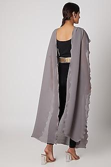 Grey Embellished Draped Sash With Belt by Rishi & Vibhuti