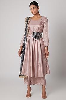 Blush Pink Anarkali Set With Embroidered Belt by Rishi & Vibhuti